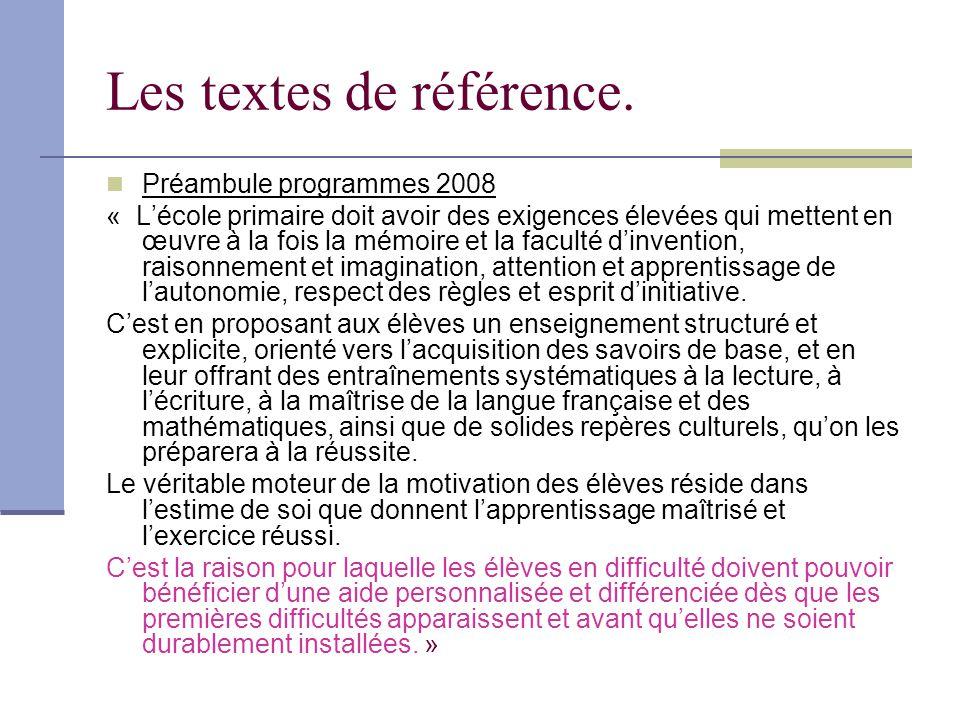 Les textes de référence. Préambule programmes 2008 « Lécole primaire doit avoir des exigences élevées qui mettent en œuvre à la fois la mémoire et la