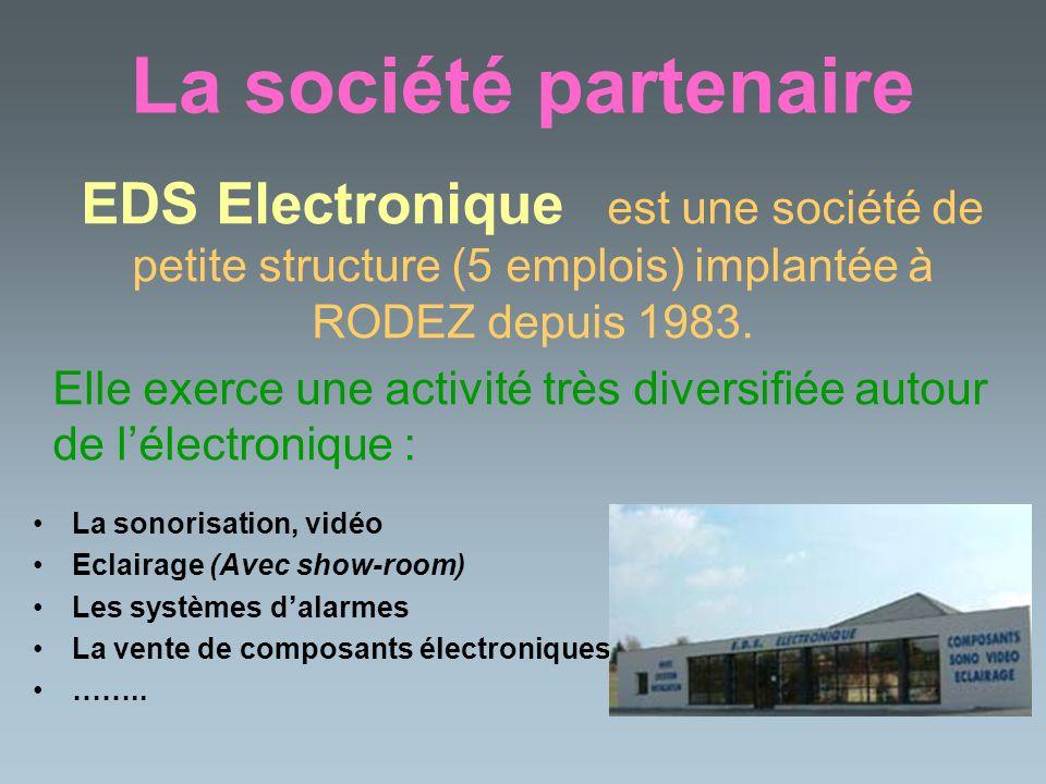 La société partenaire La sonorisation, vidéo Eclairage (Avec show-room) Les systèmes dalarmes La vente de composants électroniques …….. EDS Electroniq