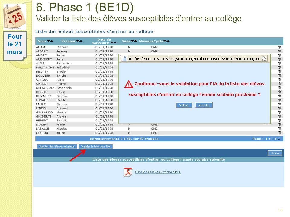 10 6. Phase 1 (BE1D) Valider la liste des élèves susceptibles dentrer au collège. Pour le 21 mars