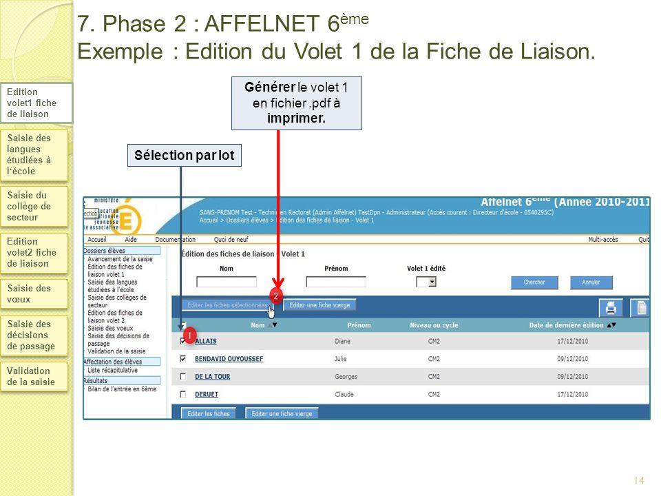 7. Phase 2 : AFFELNET 6 ème Exemple : Edition du Volet 1 de la Fiche de Liaison. Saisie des langues étudiées à lécole Saisie du collège de secteur Edi