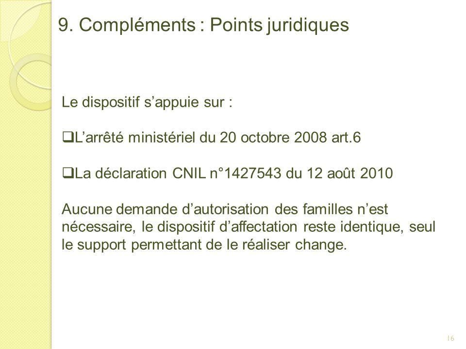 16 9. Compléments : Points juridiques Le dispositif sappuie sur : Larrêté ministériel du 20 octobre 2008 art.6 La déclaration CNIL n°1427543 du 12 aoû
