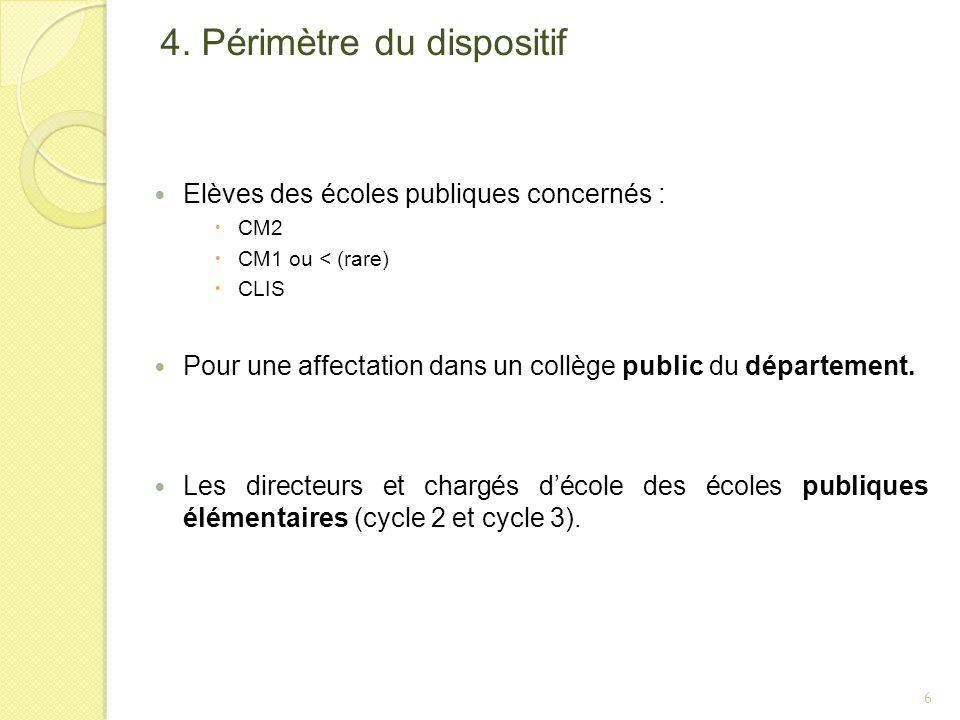 4. Périmètre du dispositif Elèves des écoles publiques concernés : CM2 CM1 ou < (rare) CLIS Pour une affectation dans un collège public du département