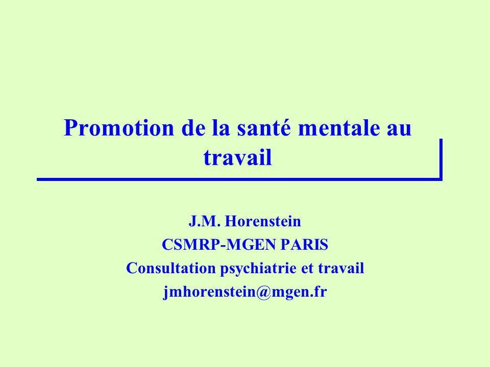 Promotion de la santé mentale au travail J.M.