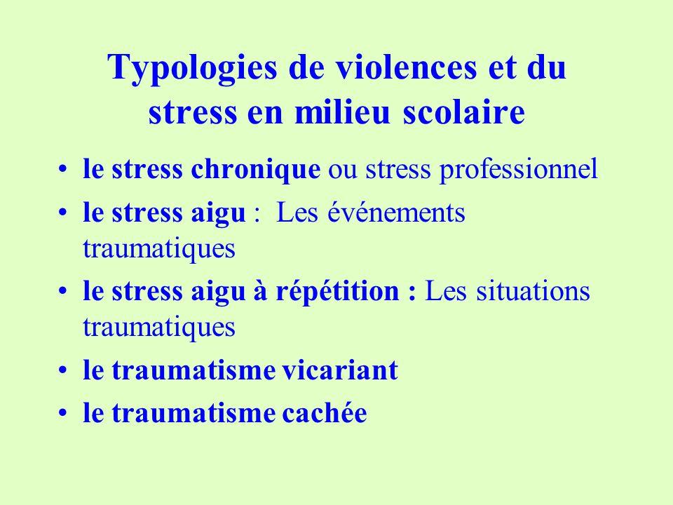 Typologies de violences et du stress en milieu scolaire le stress chronique ou stress professionnel le stress aigu : Les événements traumatiques le stress aigu à répétition : Les situations traumatiques le traumatisme vicariant le traumatisme cachée