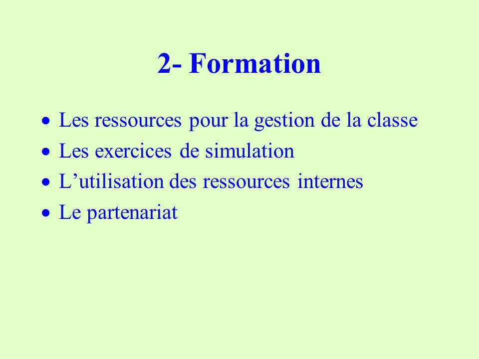 2- Formation Les ressources pour la gestion de la classe Les exercices de simulation Lutilisation des ressources internes Le partenariat