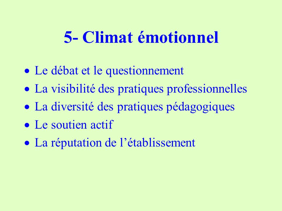 5- Climat émotionnel Le débat et le questionnement La visibilité des pratiques professionnelles La diversité des pratiques pédagogiques Le soutien actif La réputation de létablissement