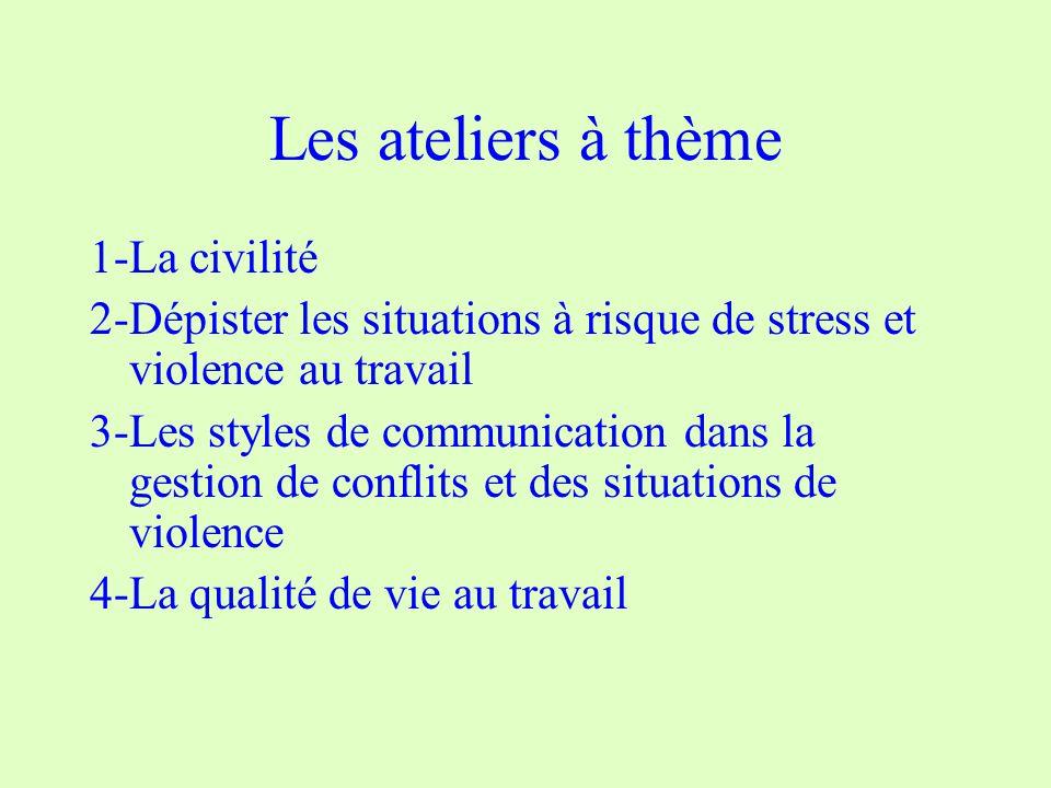 Les ateliers à thème 1-La civilité 2-Dépister les situations à risque de stress et violence au travail 3-Les styles de communication dans la gestion de conflits et des situations de violence 4-La qualité de vie au travail