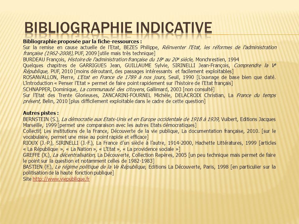 Bibliographie proposée par la fiche-ressources : Sur la remise en cause actuelle de lEtat, BEZES Philippe, Réinventer l'Etat, les réformes de l'admini