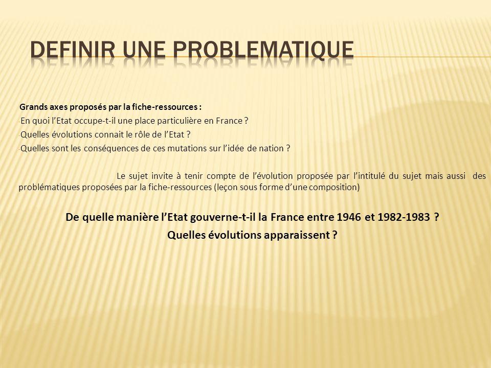 Grands axes proposés par la fiche-ressources : - En quoi lEtat occupe-t-il une place particulière en France ? - Quelles évolutions connait le rôle de