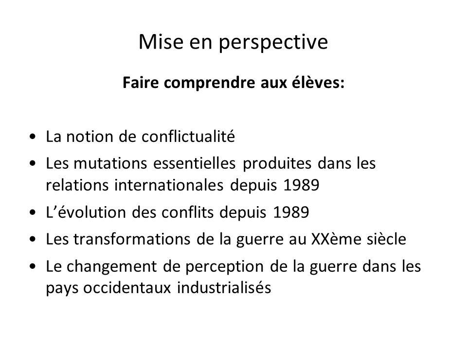 Mise en perspective Faire comprendre aux élèves: La notion de conflictualité Les mutations essentielles produites dans les relations internationales d
