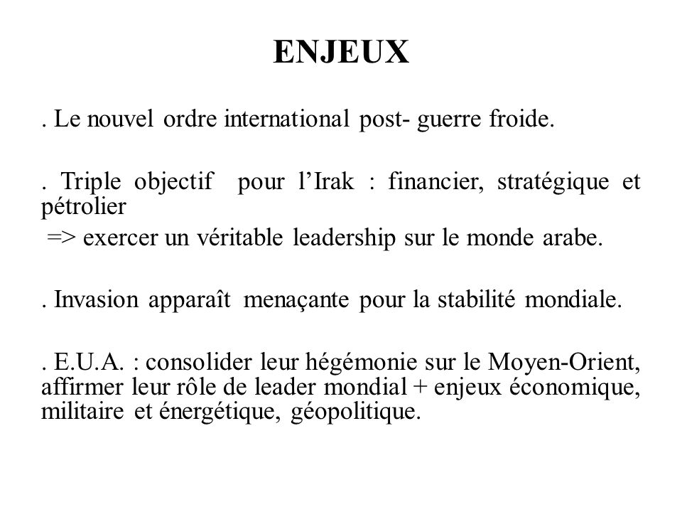 ENJEUX.Le nouvel ordre international post- guerre froide..