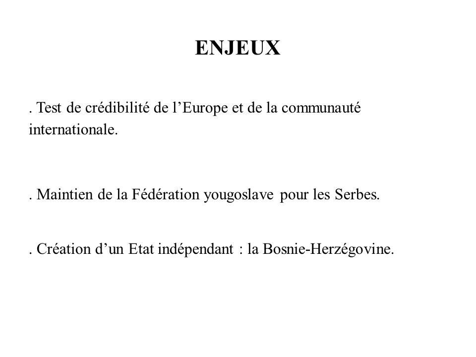 ENJEUX. Test de crédibilité de lEurope et de la communauté internationale.. Maintien de la Fédération yougoslave pour les Serbes.. Création dun Etat i