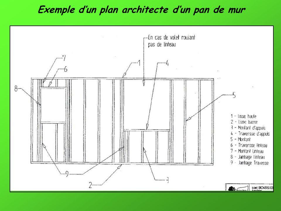 Exemple dun plan architecte dun pan de mur