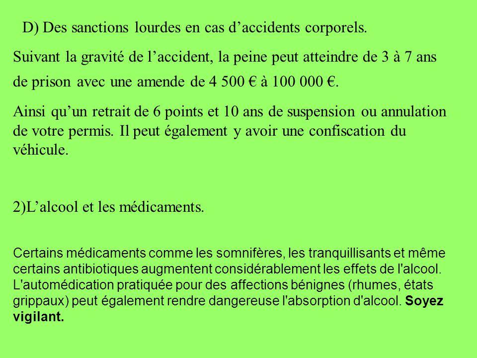 D) Des sanctions lourdes en cas daccidents corporels. Suivant la gravité de laccident, la peine peut atteindre de 3 à 7 ans de prison avec une amende