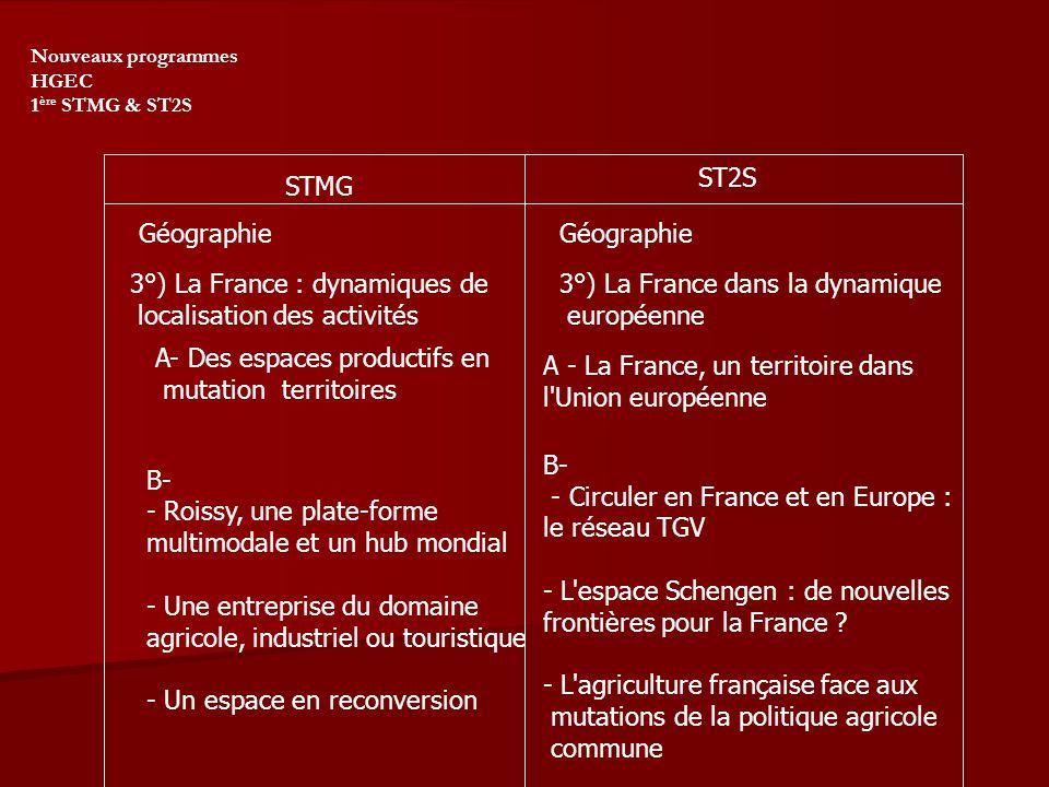 Nouveaux programmes HGEC 1 ère STMG & ST2S STMG ST2S Géographie 3°) La France : dynamiques de localisation des activités A- Des espaces productifs en mutation territoires B- - Roissy, une plate-forme multimodale et un hub mondial - Une entreprise du domaine agricole, industriel ou touristique - Un espace en reconversion 3°) La France dans la dynamique européenne A - La France, un territoire dans l Union européenne B- - Circuler en France et en Europe : le réseau TGV - L espace Schengen : de nouvelles frontières pour la France .