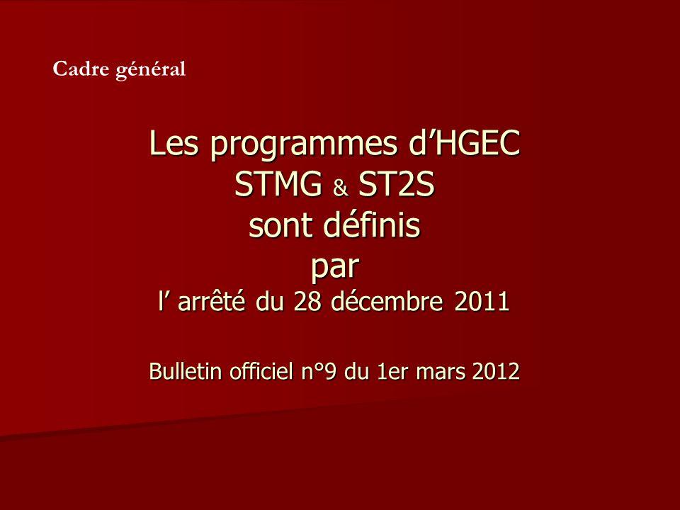 Les programmes dHGEC STMG & ST2S sont définis par l arrêté du 28 décembre 2011 Bulletin officiel n°9 du 1er mars 2012 Cadre général