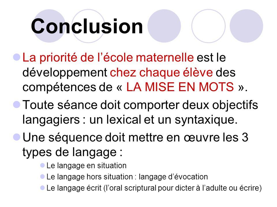 Conclusion La priorité de lécole maternelle est le développement chez chaque élève des compétences de « LA MISE EN MOTS ».