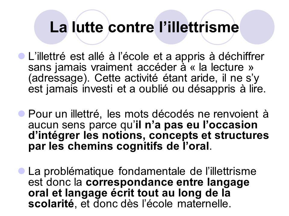 La lutte contre lillettrisme Lillettré est allé à lécole et a appris à déchiffrer sans jamais vraiment accéder à « la lecture » (adressage).