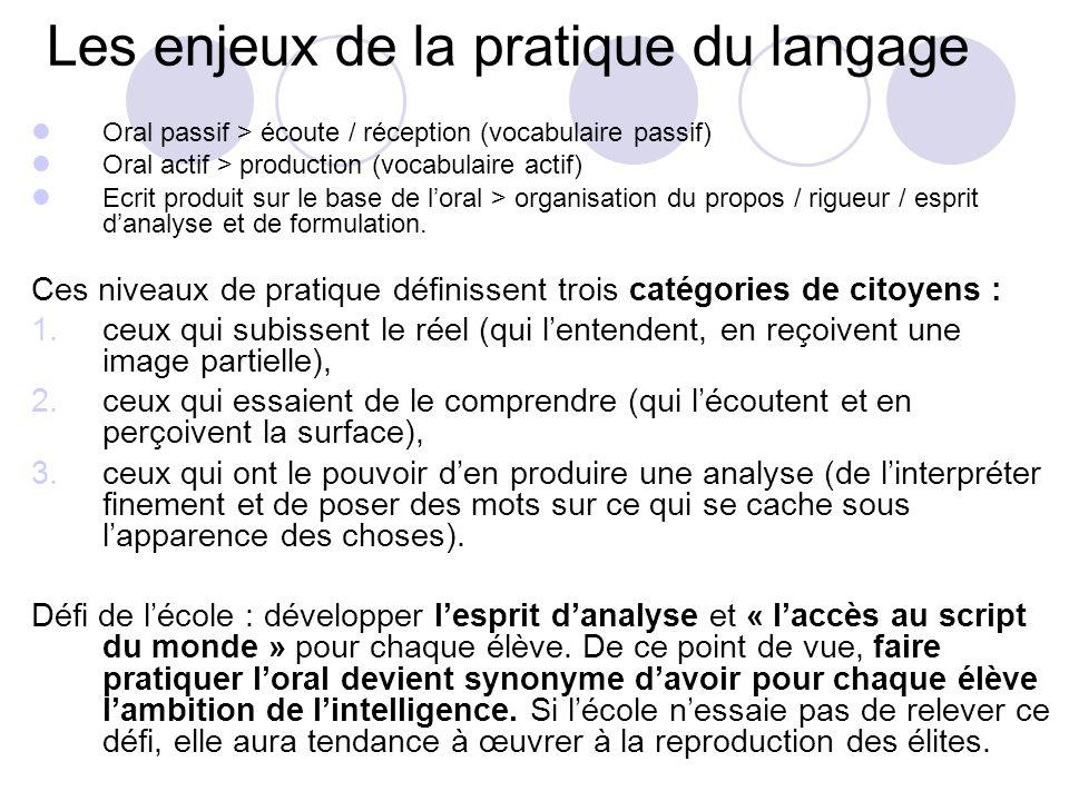 Enjeux sociaux Enjeux cognitifs Enjeux pédagogiques Les enjeux du langage