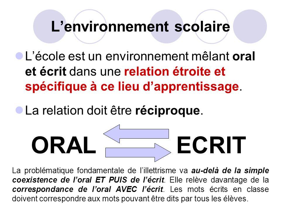 Lenvironnement scolaire Lécole est un environnement mêlant oral et écrit dans une relation étroite et spécifique à ce lieu dapprentissage.