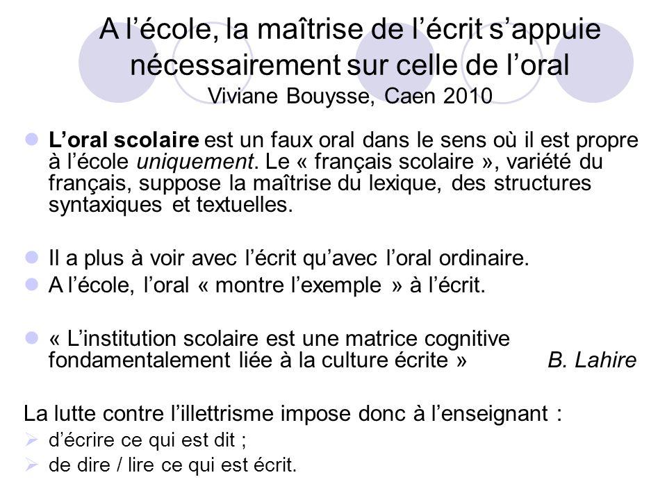 A lécole, la maîtrise de lécrit sappuie nécessairement sur celle de loral Viviane Bouysse, Caen 2010 Loral scolaire est un faux oral dans le sens où il est propre à lécole uniquement.