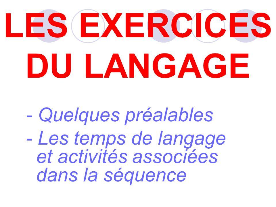 - Quelques préalables - Les temps de langage et activités associées dans la séquence LES EXERCICES DU LANGAGE