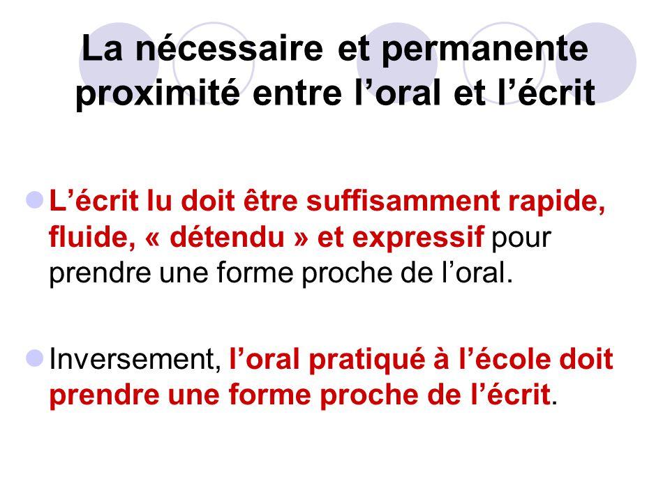 La nécessaire et permanente proximité entre loral et lécrit Lécrit lu doit être suffisamment rapide, fluide, « détendu » et expressif pour prendre une forme proche de loral.