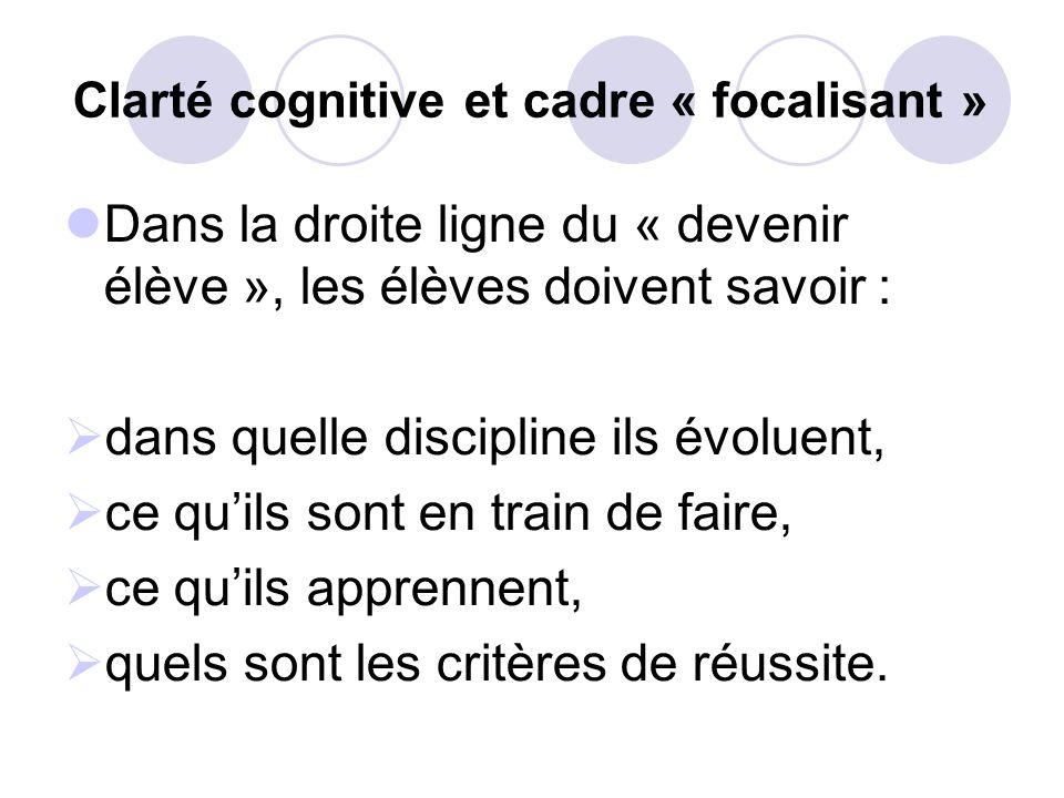 Clarté cognitive et cadre « focalisant » Dans la droite ligne du « devenir élève », les élèves doivent savoir : dans quelle discipline ils évoluent, ce quils sont en train de faire, ce quils apprennent, quels sont les critères de réussite.