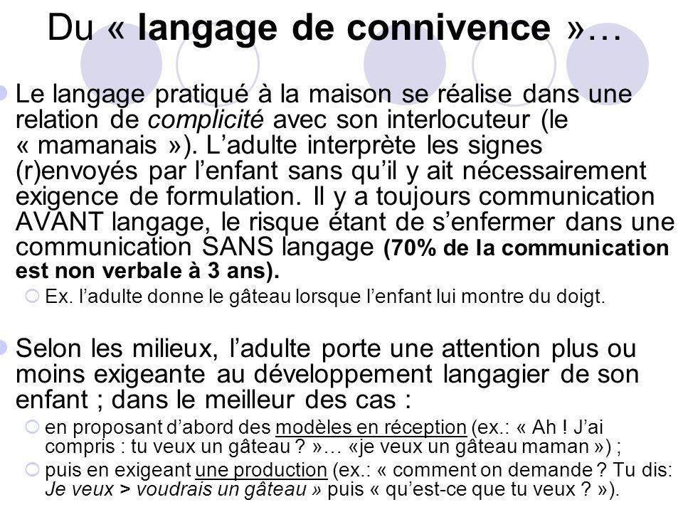 Du « langage de connivence »… Le langage pratiqué à la maison se réalise dans une relation de complicité avec son interlocuteur (le « mamanais »).