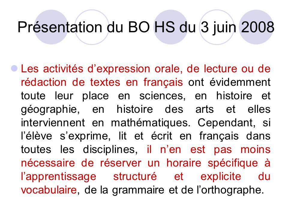Présentation du BO HS du 3 juin 2008 Les activités dexpression orale, de lecture ou de rédaction de textes en français ont évidemment toute leur place en sciences, en histoire et géographie, en histoire des arts et elles interviennent en mathématiques.