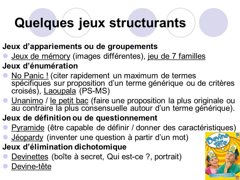 Quelques jeux structurants Jeux dappariements ou de groupements Jeux de mémory (images différentes), jeu de 7 familles Jeux dénumération No Panic .