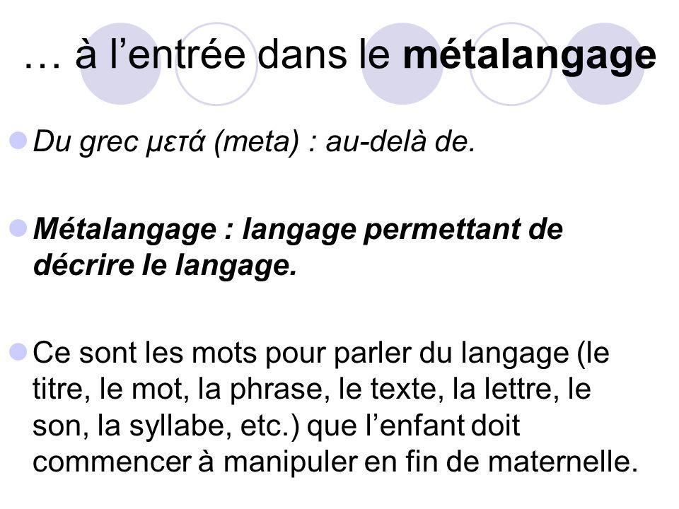 … à lentrée dans le métalangage Du grec μετά (meta) : au-delà de.