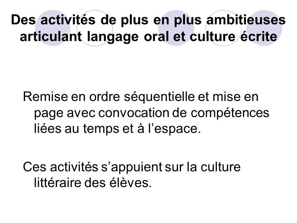 Des activités de plus en plus ambitieuses articulant langage oral et culture écrite Remise en ordre séquentielle et mise en page avec convocation de compétences liées au temps et à lespace.