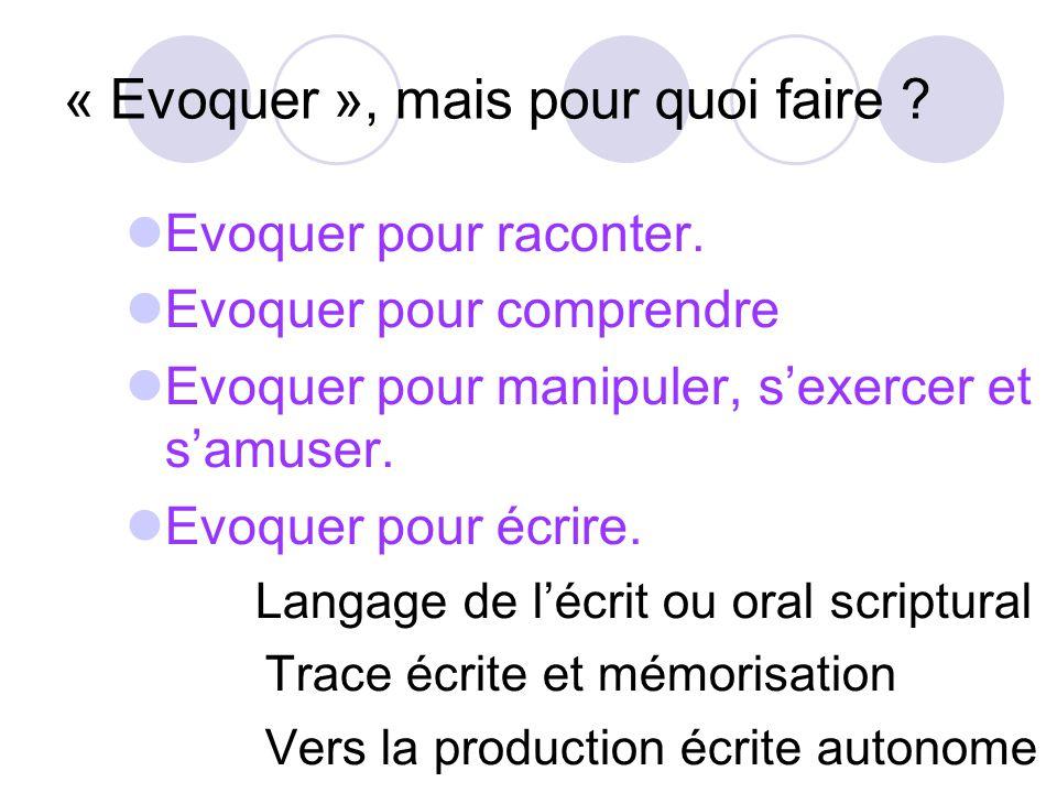 Le langage de lécrit ou « Oral scriptural » Evoquer pour écrire