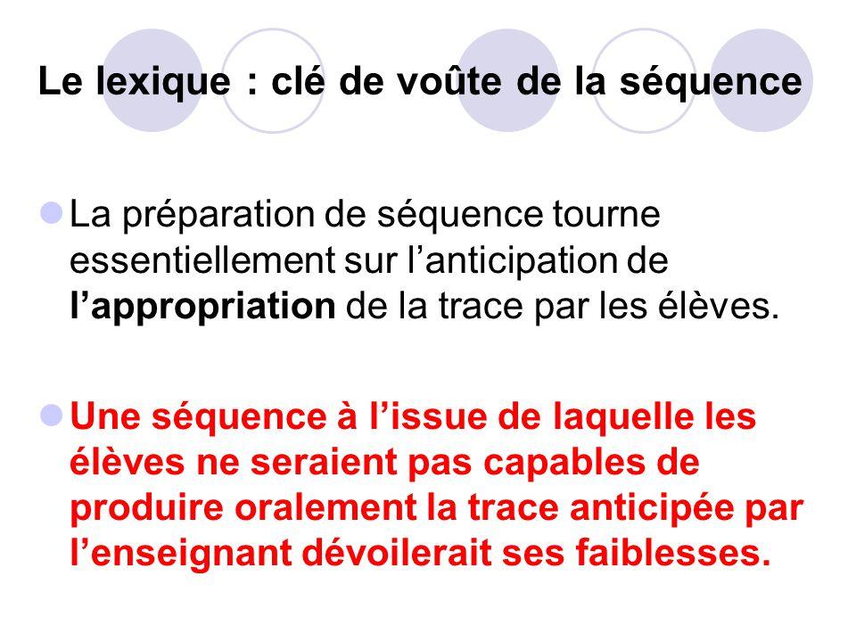 Le lexique : clé de voûte de la séquence La préparation de séquence tourne essentiellement sur lanticipation de lappropriation de la trace par les élèves.