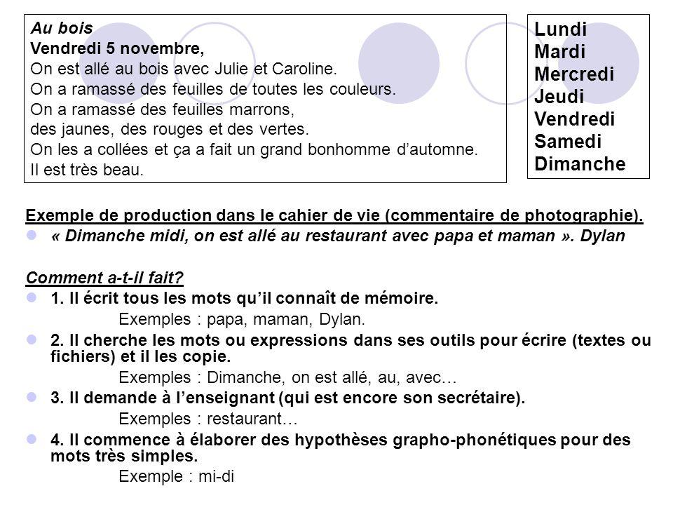 Exemple de production dans le cahier de vie (commentaire de photographie).