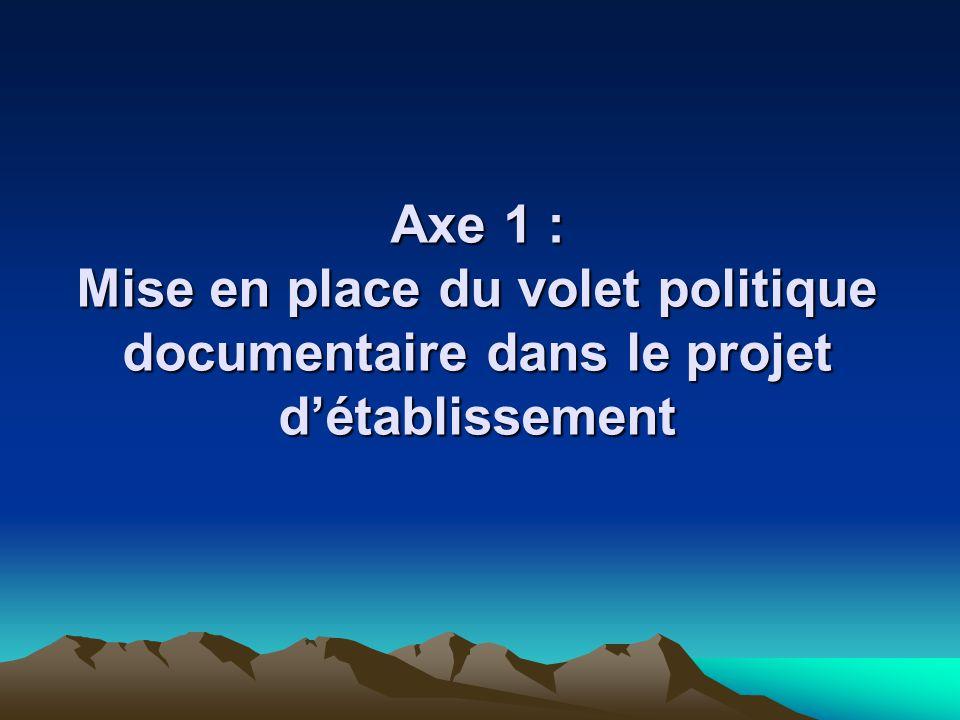 Axe 1 : Mise en place du volet politique documentaire dans le projet détablissement