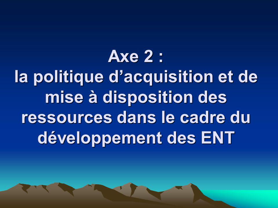 Axe 2 : la politique dacquisition et de mise à disposition des ressources dans le cadre du développement des ENT