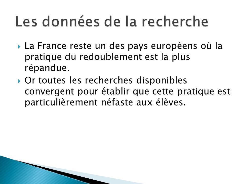 La France reste un des pays européens où la pratique du redoublement est la plus répandue. Or toutes les recherches disponibles convergent pour établi