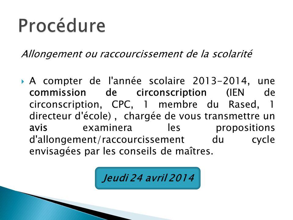 Allongement ou raccourcissement de la scolarité A compter de l'année scolaire 2013-2014, une commission de circonscription (IEN de circonscription, CP