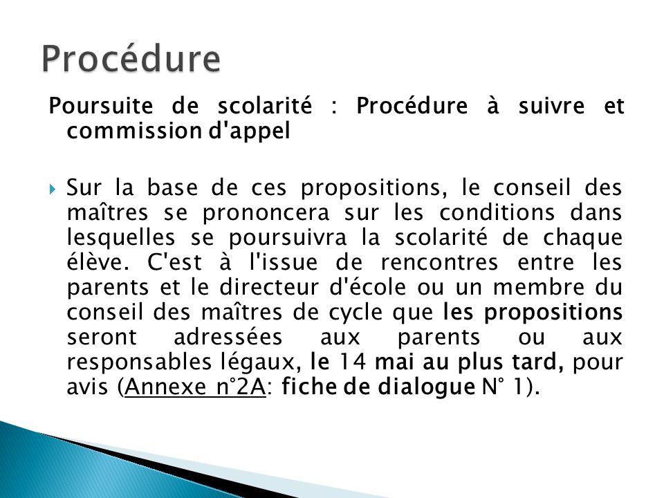 Poursuite de scolarité : Procédure à suivre et commission d'appel Sur la base de ces propositions, le conseil des maîtres se prononcera sur les condit