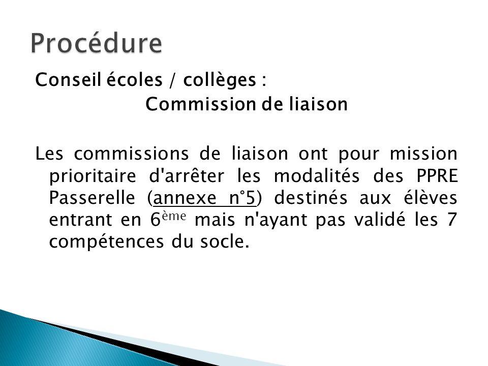 Conseil écoles / collèges : Commission de liaison Les commissions de liaison ont pour mission prioritaire d'arrêter les modalités des PPRE Passerelle