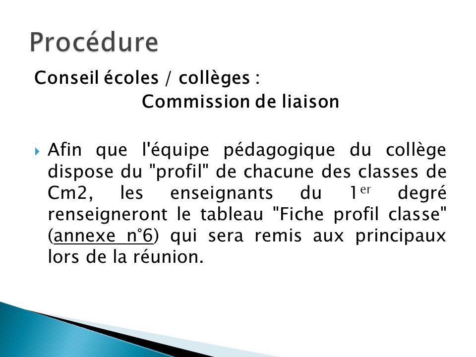 Conseil écoles / collèges : Commission de liaison Afin que l'équipe pédagogique du collège dispose du
