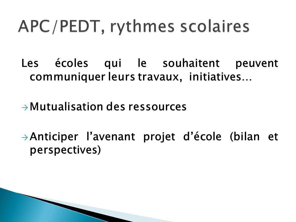 Les écoles qui le souhaitent peuvent communiquer leurs travaux, initiatives… Mutualisation des ressources Anticiper lavenant projet décole (bilan et p