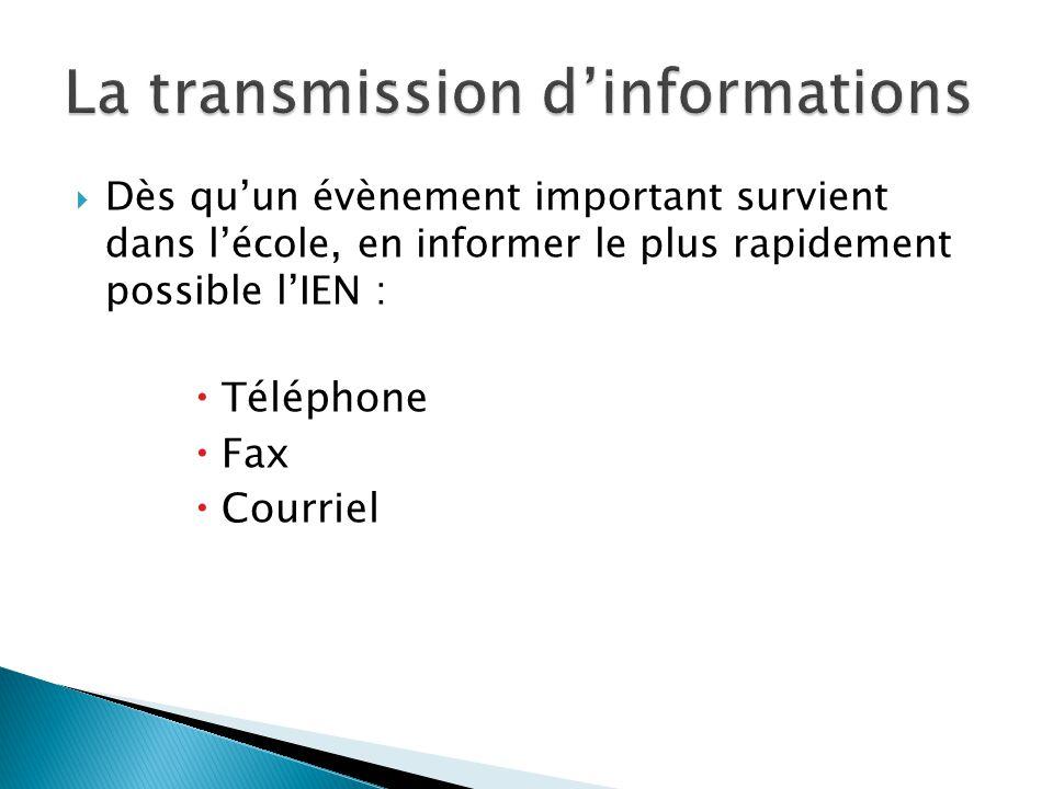 Dès quun évènement important survient dans lécole, en informer le plus rapidement possible lIEN : Téléphone Fax Courriel