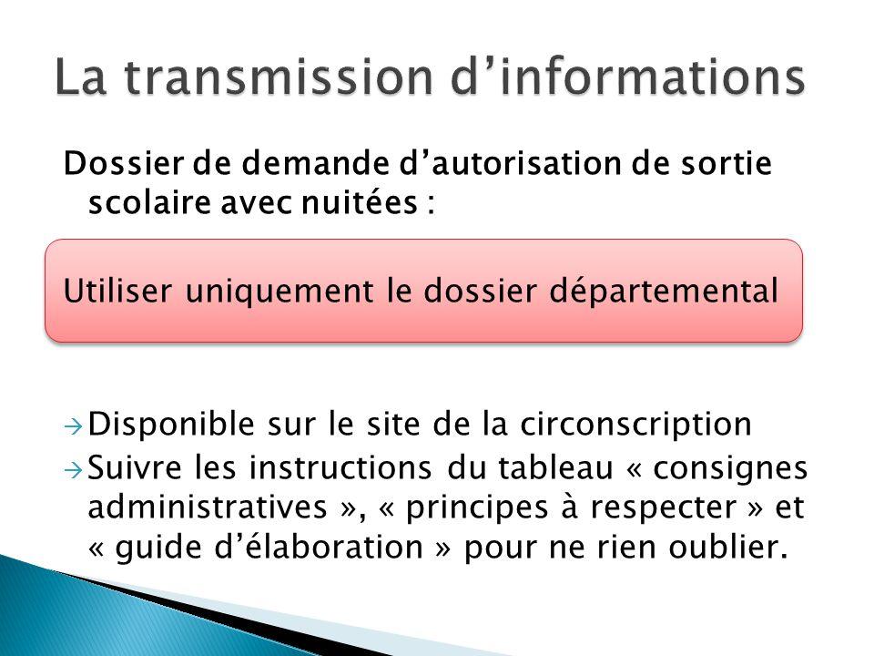 Dossier de demande dautorisation de sortie scolaire avec nuitées : Utiliser uniquement le dossier départemental Disponible sur le site de la circonscr