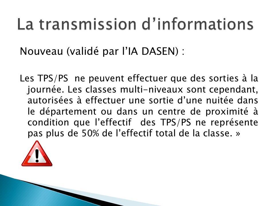 Nouveau (validé par lIA DASEN) : Les TPS/PS ne peuvent effectuer que des sorties à la journée. Les classes multi-niveaux sont cependant, autorisées à