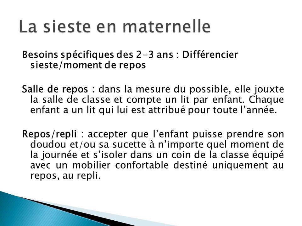 Besoins spécifiques des 2-3 ans : Différencier sieste/moment de repos Salle de repos : dans la mesure du possible, elle jouxte la salle de classe et c
