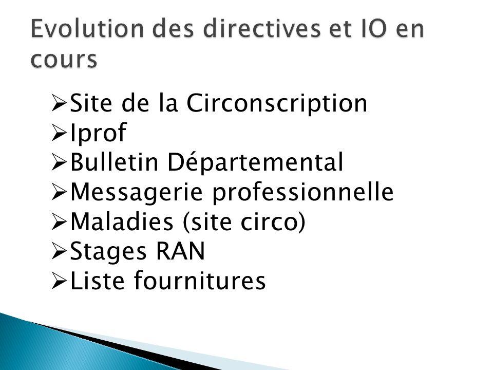 Site de la Circonscription Iprof Bulletin Départemental Messagerie professionnelle Maladies (site circo) Stages RAN Liste fournitures