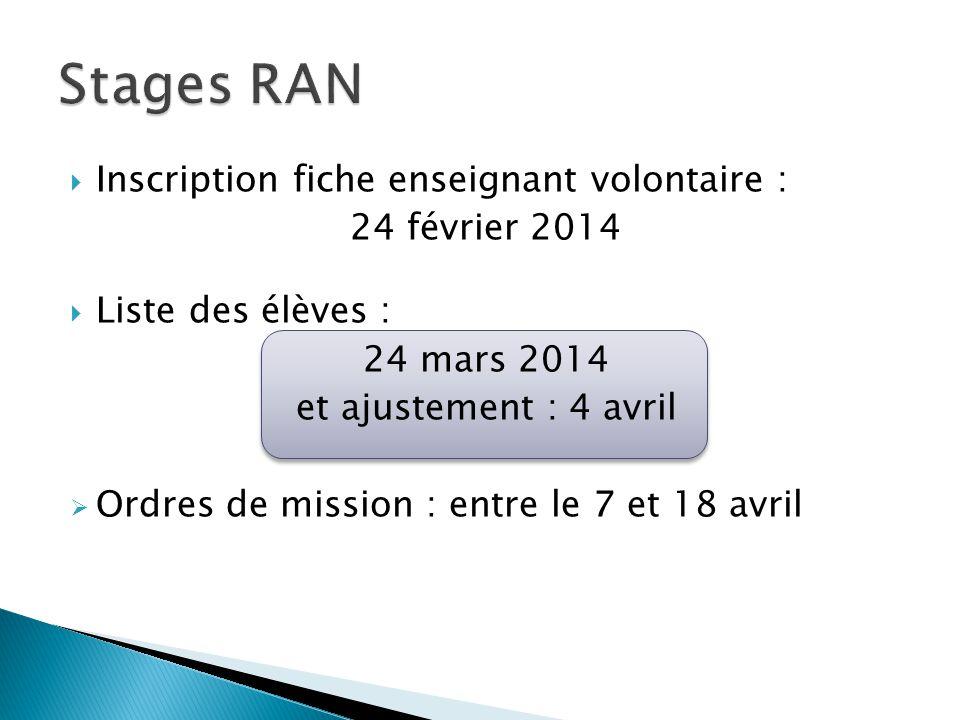 Inscription fiche enseignant volontaire : 24 février 2014 Liste des élèves : 24 mars 2014 et ajustement : 4 avril Ordres de mission : entre le 7 et 18